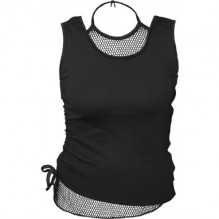 Ženski Top GOTHIC ROCK - 2in1 Neck Tie Mesh Top Black